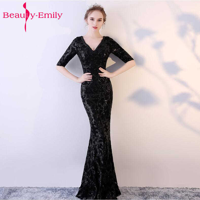 4b51076aaf5f6 Luxury black Long sequin Evening dresses Champagne V neck Cheap evening  gown 3 quarter Sleeveless Prom Party Formal Dresses