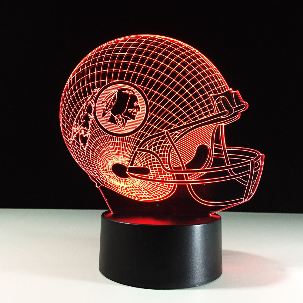 American Football Helmet 3D Night Light 7 Colors Change LED Rugby Cap USB Table Lamp Creative Bedside Light Fixture Gifts Decor