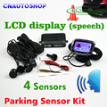 4 Sensors English Human Voice LCD Parking Sensor Kit Real Person Speech 22mm Car Reverse Backup Radar System 12V