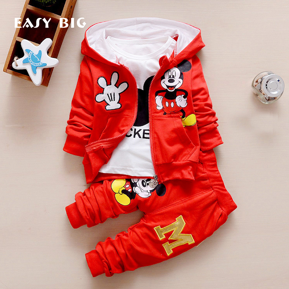 EASY BIG Spring Mickey Kids Toddler Boys Clothing Set Spring Winter Hooded Coat Suits Fall Cotton Cute Baby Boys Clothes CC0002
