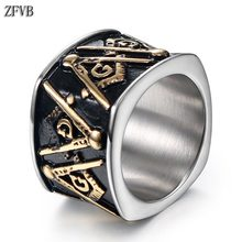 купить ZFVB Vintage Freemason Ring Men Women Bling Gold color Masonic Signet Rings Stainless Steel Fashion Party Charm Jewelry Gift дешево