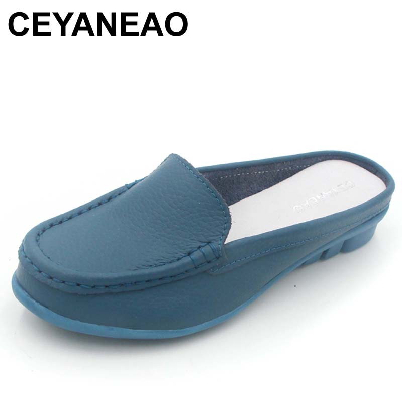 CEYANEAO Casual Genuine Leather Moccasins Ladies Driving Ballet Shoe Woman Loafers Female Flats Mother Footwear C053 women s shoes autunm winter fur loafers genuine leather ladies warm plush driving boat moccasins casual female solid flats shoe