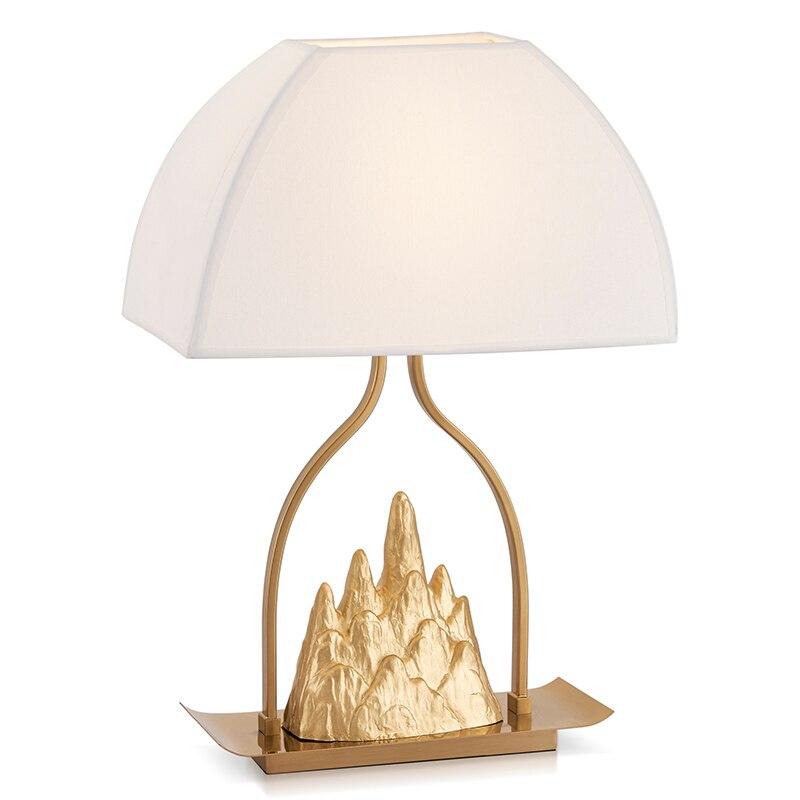 Медь Малый Цзиньшань Ткань Искусство настольные лампы Hill настольная лампа теплая дизайнерская прикроватная тумбочка для спальни золото на...