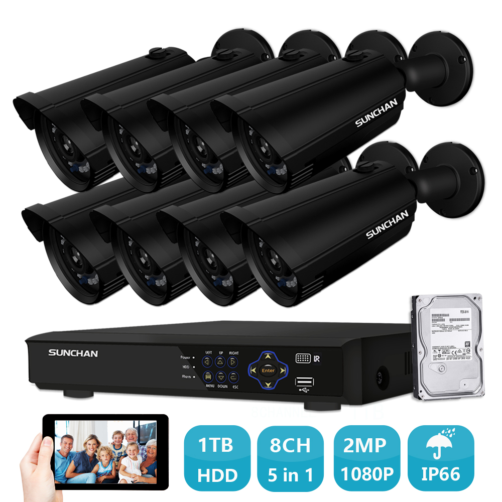 SUNCHAN Full HD 1080P Security Camera System AHD Waterproof Outdoor Bullet Camera 8 Channel CCTV DVR Kit Home Video System 1TB sunchan hd 2mp video surveillance cctv system 8ch full hd 1080p hd ahd dvr kit 8 1080p sony outdoor security camera system w hdd