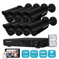 SUNCHAN Full HD 1080P Security Camera System AHD Waterproof Outdoor Bullet Camera 8 Channel CCTV DVR