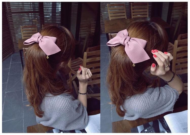 HTB1rX7AOFXXXXbrapXXq6xXFXXXo Pretty Solid Cloth Big Bow Hair Clip For Women - 7 Colors