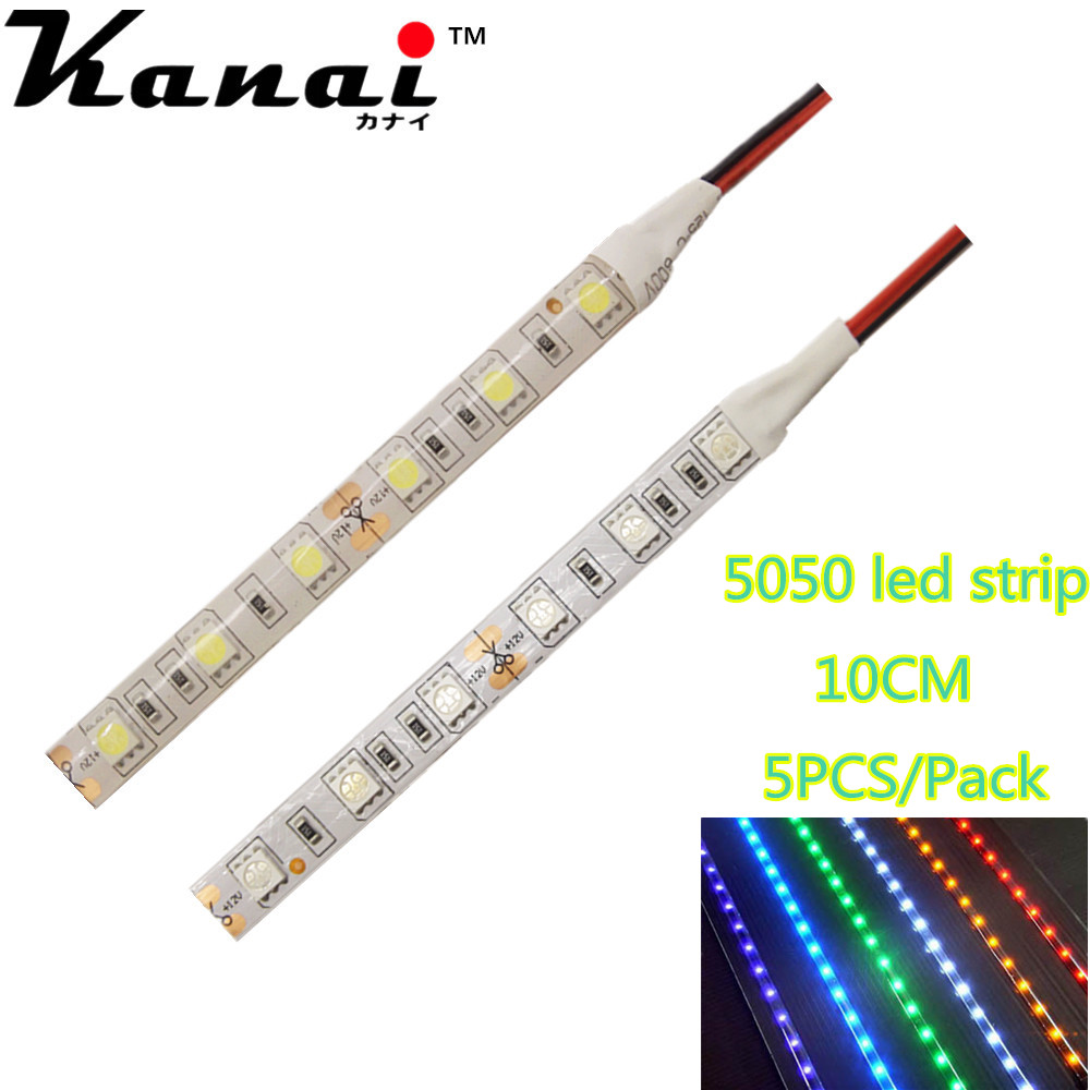5pcs DC12V 5050 10cm 6leds 30cm 18LED Strip Light No-Waterproof Led Tape Flexible Strip Light  Tira Home Decor Lamp Car Lamp