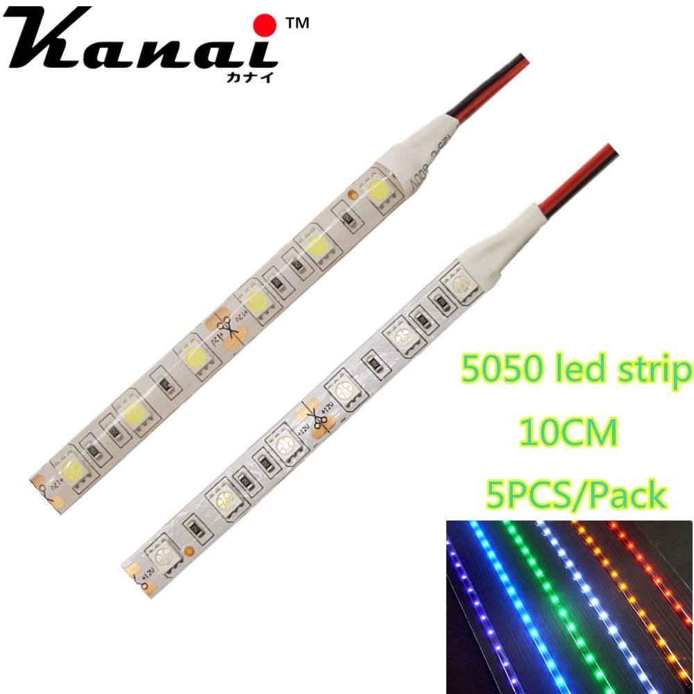 5pcs DC12V 5050 10cm 6leds 30cm 18LED Strip Light No-Waterproof Led Tape Flexible Strip Light  Tira Home Decor Lamp Car Lamp