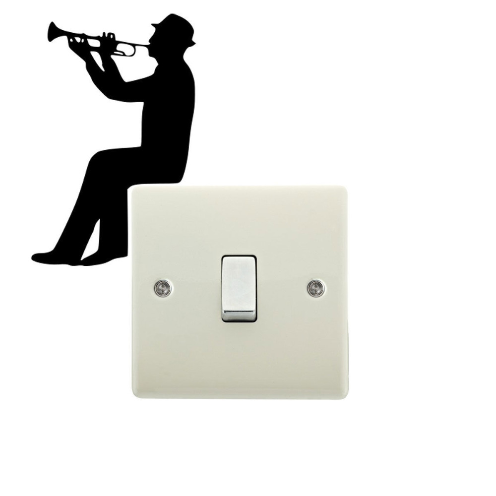 Sticker wall hanger - Man Playing Trumpet Switch Decal Cartoon Fashion Wall Vinyl Wall Sticker 5ws0003 China Mainland