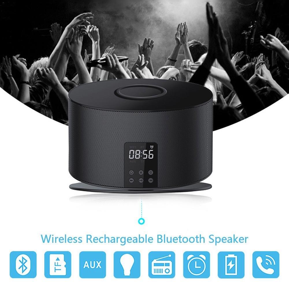 цена на A01 QI Wireless Charging Smart Bluetooth Speaker Alarm Clock with Built-in 4000 mAh Lithium Battery