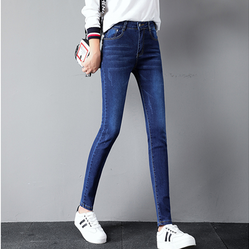 JUJULAND   Jeans   For Women Black   Jeans   High Waist   Jeans   Woman High Elastic Stretch   Jeans   Female Washed Denim Skinny Pencil Pants