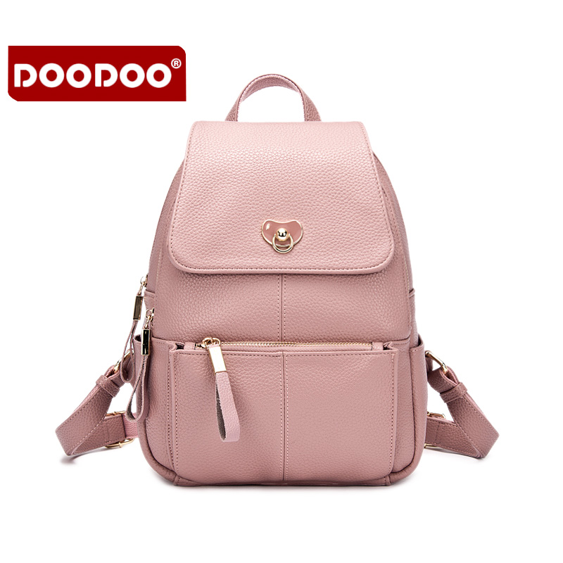 ФОТО New Women Backpack 2016 Famous New Brand Preppy Style Leather Black Grey Pink Sweet Shoulder Bags For Female Travel Backpacks