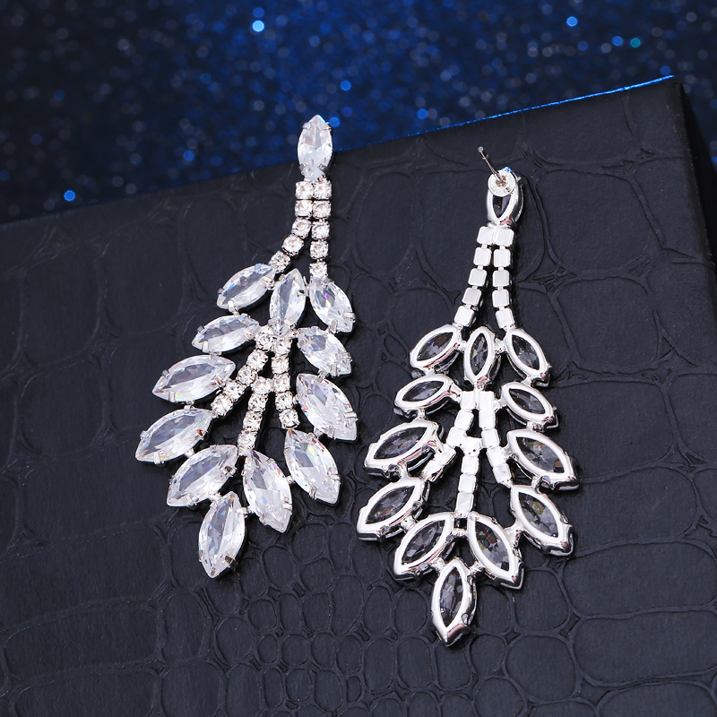 Hot White Gold Color Fashion Acessories Zircon Earrings Wedding Jewelry Leaf Shape Marquise Stone Drop Earrings For Bridesmaid