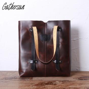Original Design Women Shoulder Bag Leather Vintage Top-handle Bags Italian Genuine Leather Ladies Tote Bag  Leather Handbags