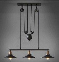 Лофт Винтаж Ретро Железный Черный Люстра промышленные шкив промышленный светильник E27 Эдисон подвесной светильник дома Освещение светильн