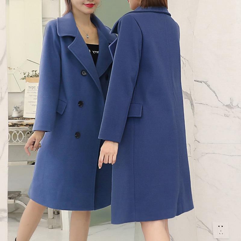 Grande Longue Automne Printemps Taille Élégants Grand Laine De Black blue Survêtement Vêtements Costumes Femmes 4xl Bleu Blazer Mélange Manteaux Manteau Vestes Aq4n5B0