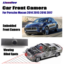 Liandlee Car LCD Screen Monitor 4.3 Front View Camera Logo Embedded For Porsche Macan 2014 2015 2016 2017 Cigarette Lighter