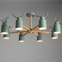 Модные красочные современные деревянные металлические потолочные светильники Lamparas минималистский олень тенты светильник столовая потоло