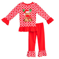 2016 New Little Girl Clothes Christmas Newborn Baby Outfits Reindeer Round Neck Long Sleeve Top Pants Cotton Kid Clothes C014