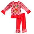 2016 New Little Girl Roupas Outfits Bebê Recém-nascido de Natal Renas Em Torno Do Pescoço de Manga Longa Top Calças de Algodão Miúdo Roupas C014