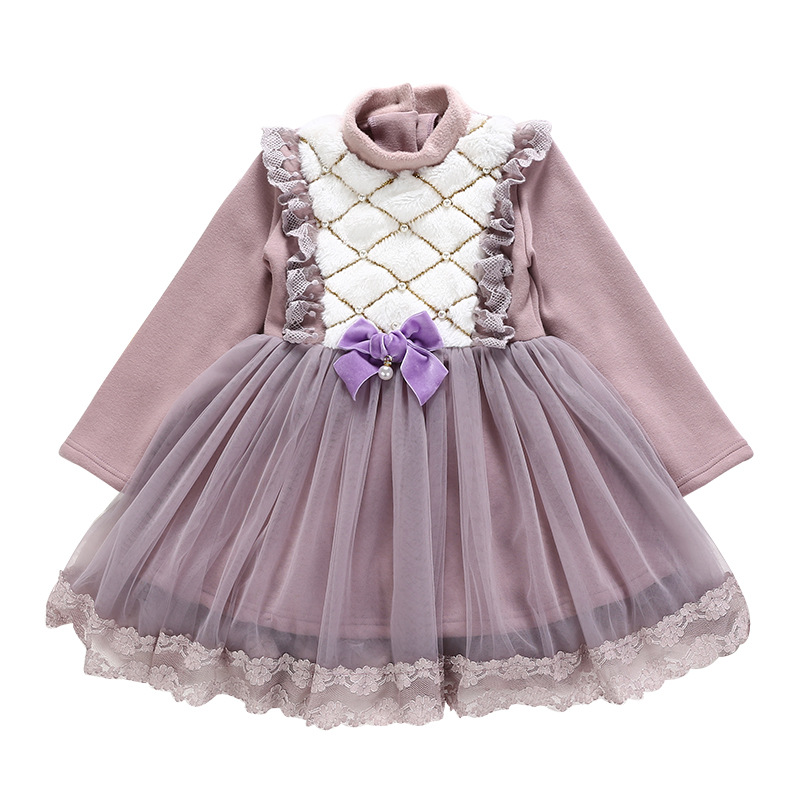 Baby Girls Clothes Lace Princess long sleeve pearls toddler plus velvet newborn Kids Party Dresses Ball Gown 4-10YBaby Girls Clothes Lace Princess long sleeve pearls toddler plus velvet newborn Kids Party Dresses Ball Gown 4-10Y