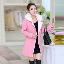Pinky Is Black 2017 Women medium-long coat woolen outerwear autumn winter large fur collar thickening winter woolen overcoat
