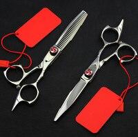 Top grade professional 5.5 inch 440c 9cr13 62HRC mỏng shears thợ cắt tóc cắt kéo tóc set trang điểm làm tóc kéo