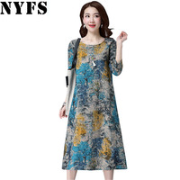 2017 New Spring Autumn Women Dress Loose Ladies Casual Vintage Printing Cotton Linen Plus Size Vestidos