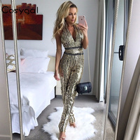 COSYGAL 2018 New V Neck Woman Jumpsuits Sexy Gold Striped Elegant Sequin Bodysuit Women Bodycon Empire Backless Leotard Rompers