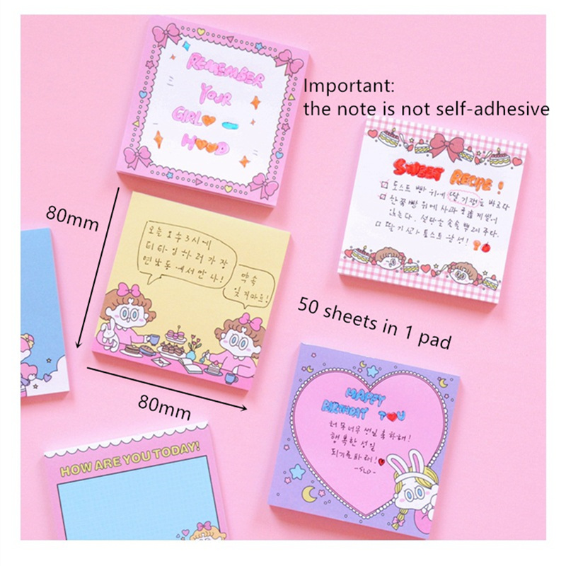 6pcs Cartoon girl friends ins popular memo pad Mini message box note kids gift Stationery item Office School supplies A6322 in Memo Pads from Office School Supplies
