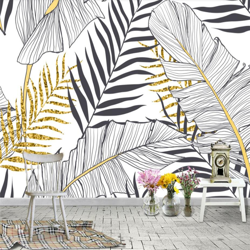 Wellyu Papel De Parede Nordic Simple Banana Leaf Black And White Palm Wall Decoration Painting Custom Large Mural Wallpaper