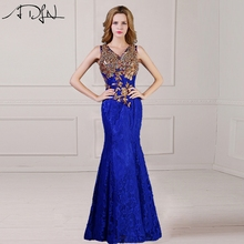 ADLN 2017 Lace Evening Dress Formal V-Neck Party Wear Long Vestidos longo See Through Royal Blue Prom Gown
