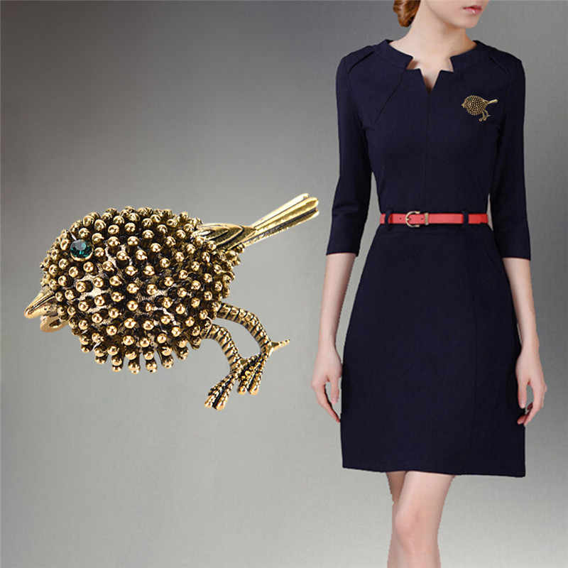 Vintage Burung Bros Kecil Yang Indah Burung Gaun Kerah Baju Sweater Perjamuan Dekorasi Wanita Bros Jilbab Pin Perhiasan Qrhyk