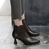 Winter New Strange High heeled Boots Women Fashion Ankle Boots Plus Velvet Pointed Toe Women Shoes Sexy Zipper Bottes