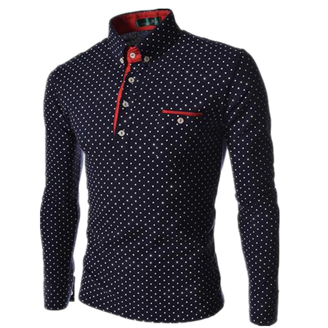 Мужчины Polo Рубашки 2017 Новый Осень Человек Моды Горошек Долго рукавом Polo Рубашки Мужчины Кнопки Хенли Шеи Вскользь Slim Fit Camisa Polo