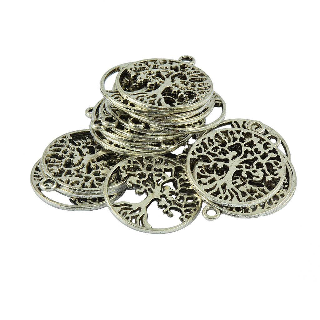20 pezzi di Argento Antico Filigrana Hollow Foglia Albero Della Vita FAI DA TE Pendenti e Ciondoli Perle di Amici di Famiglia di Natale Artigianato Regalo