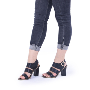 Image 5 - GENSHUO Women Sandals Gladiator Black Buckle Strap Sandals for Women Chunky Heels Summer Shoes Ladies Block Heel White Sandals