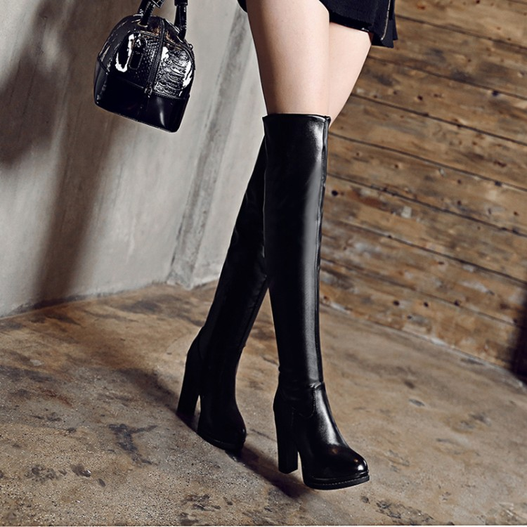 Big Size 34-43 Over the Knee Boots for Women Sexy High Heels Long boots Winter Shoes Round Toe Platform Knight Boots M108-1 doratasia big size 34 43 women half knee high boots vintage flat heels warm winter fur shoes round toe platform snow boots