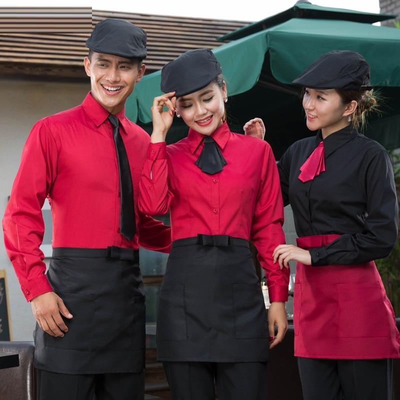 Fast Food Waiter Work Uniform Women Hotel Adjusted Sleeve Shirt+Apron+Tie Set Spring/Autumn Coffee Shop Work Wear Wholesale