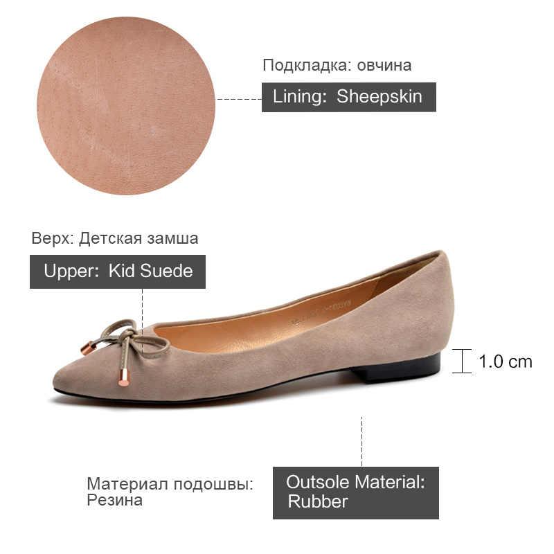 Donna Trong Thông Nữ Da Thật Chính Hãng Da Ballerina Đế Bằng Mũi Nhọn Giày Múa Ba Lê Bãi Nơ 2020 Mùa Xuân Nữ Màu Đen xanh