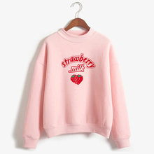 Harajuku Kawaii Strawberry Hoodie Sweatshirt Wanita 2019 Korea Fashion Kpop Gaya Jalan Kaus Siswi Streetwear(China)