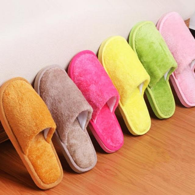 DreamShining Candy Color Men Women Winter Warm House Indoor Slippers Cotton Foot Warmer Shoes Multicolor 7 Color