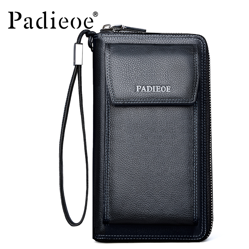 Padieoe Brand New Men Large Capacity Genuine Leather Purse Business Casual Cowhide Clutch Mens Phone Wallet Free Shipping  padieoe brand 2017 new men wallet genuine leather cowhide purse credit card wallet large capacity men s wallet free shipping