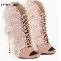 Hot Women Feather Rhinestone Peep Toe Ankle Boots Lace Up Cut out Gladiator Summer Sandals Boots High Heels Party Shoes Women
