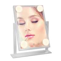 180 degree illuminated for lady Cosmetic Professional vanity Bulbs Lighted Makeup Mirror with Stand Tabletop Hollywood Mirror