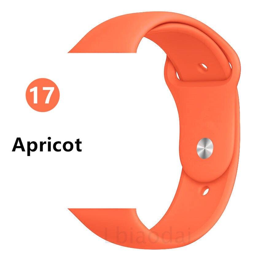 Ремешок для Apple Watch 38 мм 42 мм iWatch 4 ремешка 44 мм 40 мм спортивный силиконовый ремень браслет Apple watch 5 4 3 2 Аксессуары для ремешка - Цвет ремешка: Apricot