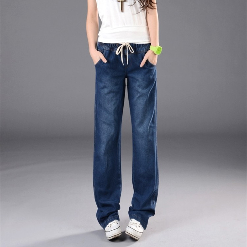 Wide Leg Pants Jeans Women Plus Size Loose Denim Baggy Jeans Elastic High Waist Long Pants for Women Trousers Female Bottoms 2015new plus size women jeans trousers casual denim pencil pants spring big elastic high waist empire legging free shipp0828xxxx