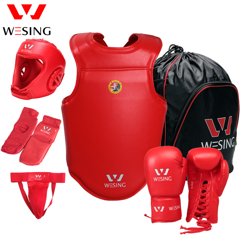 Wesing Professional Protective Gears 6 Pcs Set with Boxing Gloves Head Guard Instep Groin Guard Chest Protection Micro Fiber win max boxing protection head guard helmet protector blue