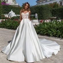 Detmgel Charming Backless Satin Chapel Train A-Line Wedding Dresses 2019 Luxury Appliques Beaded Scoop Neck Princess Bridal Gown