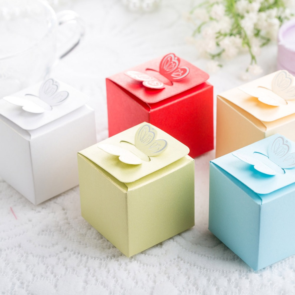 Free Shipping 50pcs Butterfly Style Favor Gift Candy Cake Boxes For